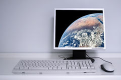 Earth on desktop Stock Photo