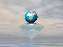 Earth is a diamond - 3D render. Diamond carrying earth planet by grey cloudy weather - Elements of this image furnished by NASA Royalty Free Stock Images