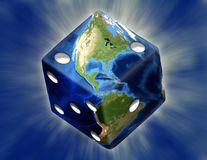 Earth Dice. Global Gamble Earth in shape of dice with burst Royalty Free Stock Images
