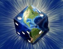 Earth Dice. Global Gamble Earth in shape of dice with burst. Some elements image credit NASA stock illustration