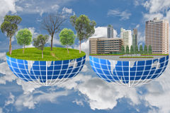 Earth with the difference between earth. Earth with the difference between earth of environment and earth technology Royalty Free Stock Image