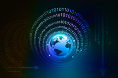 Earth and digital , binary code Royalty Free Stock Photo