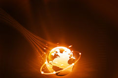 Earth with digital fibers Royalty Free Stock Photos