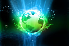 Earth with digital fibers Royalty Free Stock Image