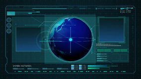 Earth in Digital interface display. computer display panel. stock footage