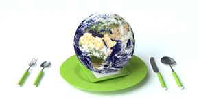 Earth for dinner. For a background picture Vector Illustration