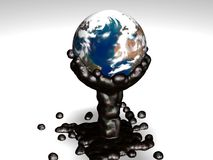 Earth dive into sticky oil. To illustrate our petroleum dependence royalty free illustration