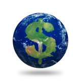 Earth Dollar. Planet Earth with dollar sign shaped continents and clouds Royalty Free Stock Photography