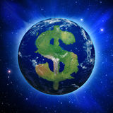 Earth Dollar. Planet Earth with dollar sign shaped continents and clouds over a starry sky Royalty Free Stock Photography