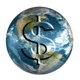 Earth with dollar. Rendered 3d model of Earth with dollar stamp vector illustration
