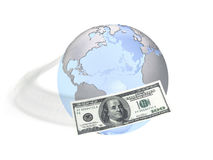 Earth and dollar banknote Stock Photo