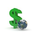 Earth and dollar sign. On the white Royalty Free Stock Photos