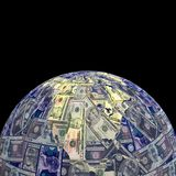 Earth dollars sphere Royalty Free Stock Photos