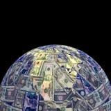 Earth dollars sphere Royalty Free Stock Photos