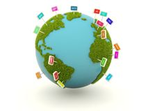 Earth with domain name signs Royalty Free Stock Photography