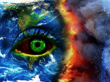 Earth doomed photo collage. Earth high quality photomanipulation design Stock Photography