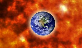 Earth on doomsday with big explosion design. Earth on doomsday with big explosion illustration design background, element of this image furnished by NASA Royalty Free Stock Photography