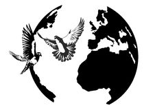 Earth and the doves Stock Photos