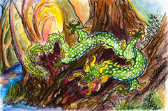 Earth Dragon. This is an original watercolor painting, of a green dragon with white spots and gold spines. It is moving through trees down towards a stream, it's Royalty Free Stock Photo