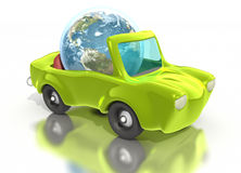 Earth driving green convertible car. Earth driving green toony convertible car on white background. Clipping path included Royalty Free Stock Images