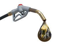 Earth dropping from the fuel nozzle Royalty Free Stock Image