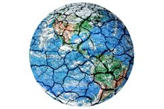 Earth with dry and cracked texture.Global warming conceptual pic. Ture. Isolated on a white background royalty free stock photography