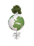 Earth dry and green tree ecology 3d cg Royalty Free Stock Images