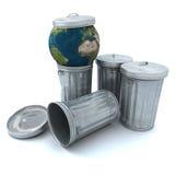Earth in the dustbin stock illustration