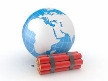 Earth with dynamite Stock Photos