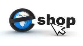 Earth and E-shop. Symbol e-shop on white background (done in 3d Stock Photo