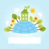 Earth with eco house Royalty Free Stock Image