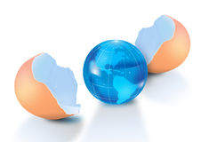 Planet Earth in egg shells Stock Image