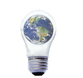 Earth in electric lightbulb Royalty Free Stock Photography