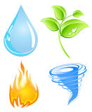 Earth elements. Illustrations representing natural elements water, wind, earth and fire Royalty Free Stock Photography