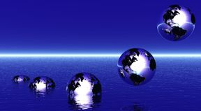 Earth emerging from the sea. Brillant white earth emerging from the deep blue sea by a deep blue day and sky Stock Photography