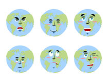 Earth emotions Set. Planet with cartoon face. Cheerful and angry Royalty Free Stock Photo