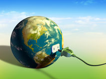 Earth energy. Electrical cord plugging into planet Earth. Digital illustration Royalty Free Stock Images