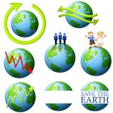 Earth and Enviroment Clip Art. An illustration featuring a wide assortment of Earth and environmental clip art including arrows, people and logo Royalty Free Stock Photo