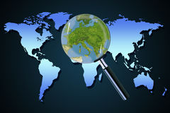 Earth Europe crisis political Greece Italy focused magnifying glass Stock Images