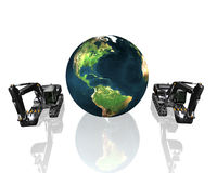 Earth and excavator Royalty Free Stock Photos