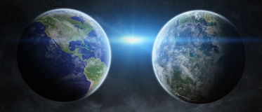 Earth exoplanet in space Royalty Free Stock Photography