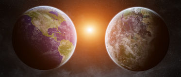 Earth exoplanet in space Royalty Free Stock Images