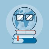 Earth with eyeglasses standing on books Stock Images