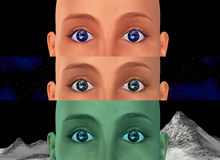 Earth Eyes Universe Space Exploration. Exploration of the space, human eyeing the universe. Three different backgrounds stock illustration
