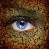 Earth face. Face with cracked earth pattern Royalty Free Stock Image