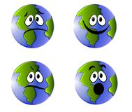 Earth Faces Emoticons Icons Stock Images