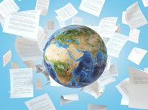 Earth and  falling papers Royalty Free Stock Photography