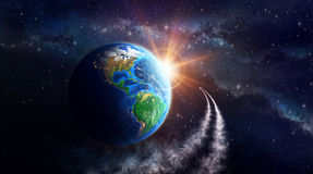 Earth fantasy. Illuminated face of the Earth in outer space, celestial body in orbit. View of American continent. Elements of this image furnished by NASA Stock Photography
