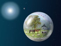 Earth farm in space stock photography