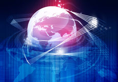 Earth with fiber optic. Global communication concept Royalty Free Stock Photos
